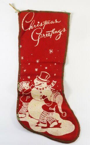 "Vintage Felt Flannel Stenciled Christmas Stocking Snowman Children Greetings 14"""