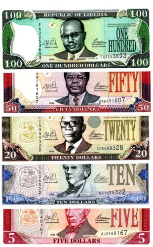 Liberia  … P-26a-30a … 5-100 Dollars … 2003… Choice *UNC*.  Set of 5 Notes