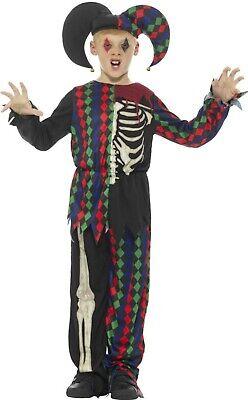 Boys Girls Smiffys Evil Skeleton Jester Harlequin Halloween Costume Outfit 4-14 - Girls Jester Costume