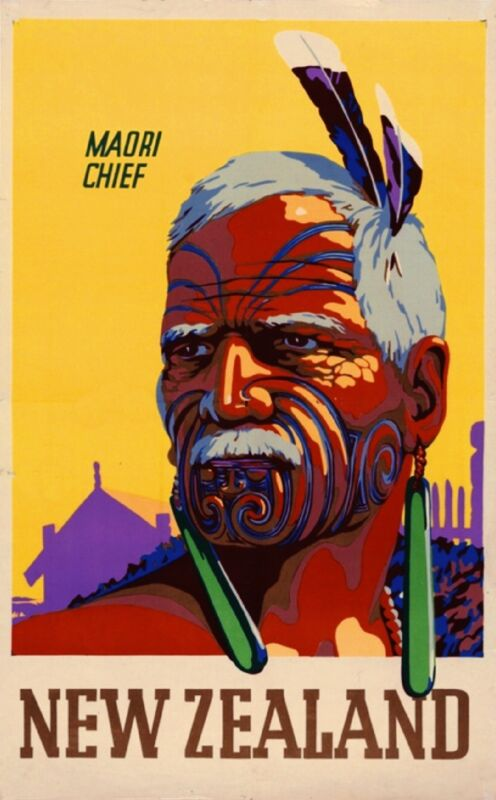 Fascinating New Zealand Maori Chief Vintage Travel Advertisement Art Poster
