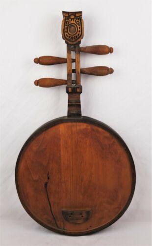 Rare Antique Hand Carved Wood Folk Art Biwa Japanese Stringed Musical Instrument