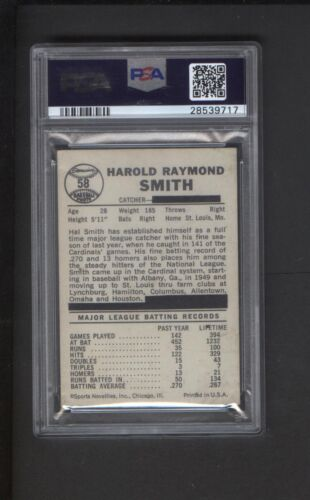 1960 Leaf Baseball Gum Card #58 Hal Smith Team Blacked Out On Back Psa Graded