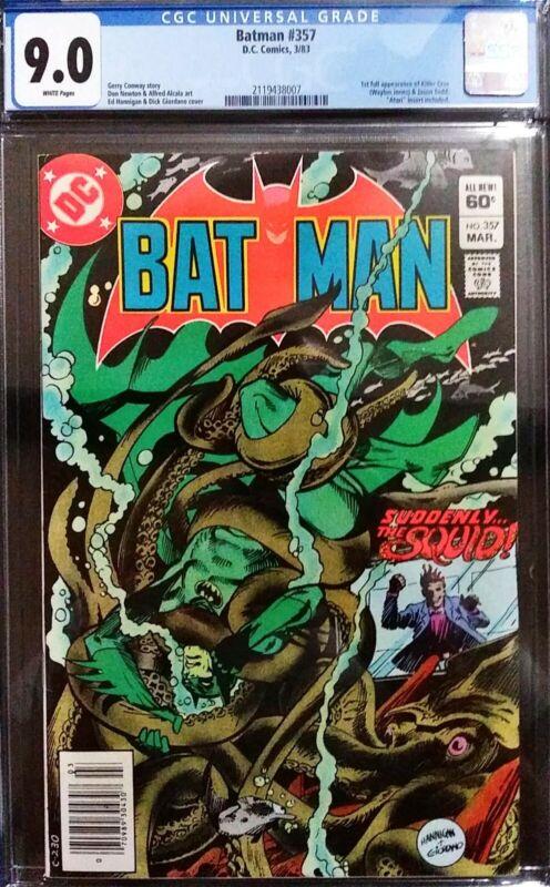 """Batman #357 CGC 9.0 """"NEWSSTAND"""" 1st full appearance of Killer Croc & Jason Todd"""