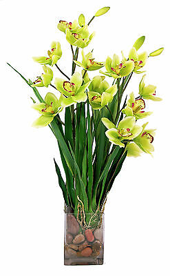 (FLOWER ARRANGEMENTS - GREEN CYMBIDIUM ORCHID ARRANGEMENT - SILK FLORAL)