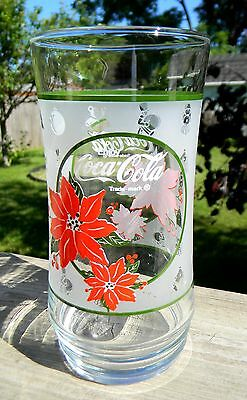 Coca-Cola Christmas Glass with Poinsettias and Christmas Designs
