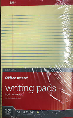 12 Pads Ultimate Legal Writing Pads 8.5x11.75 Yellow Paper 50 Sheets Notepad