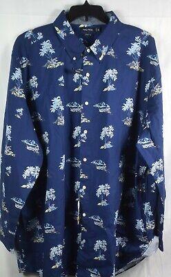 NAUTICA Men's Blue Depths Printed Long Sleeve Button Shirt. NEW NWT. 3XL