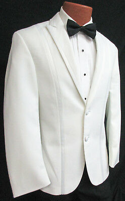 Prom Suit (Mens White Tuxedo Dinner Jacket Modern Slim Fit Wedding Prom Cruise Fitted Suit)
