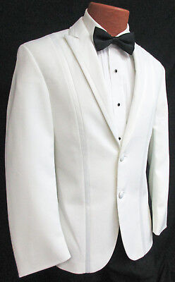Mens White Tuxedo Dinner Jacket Modern Slim Fit Wedding Prom Cruise Fitted Suit  - Prom Suit