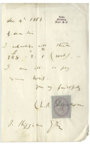 Charles Darwin - Autograph Letter Signed - Four Years After On Origin of Species