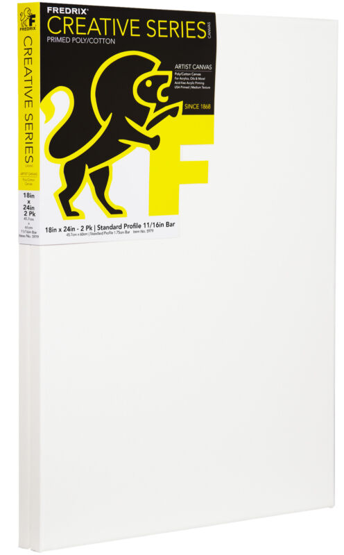 Fredrix Creative Series Pre-Stretched Artist Canvas, 18 x 24 in, White, Pack of