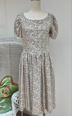 80s Dresses | Casual to Party Dresses Pretty Vintage 1980s Cottagecore Floral Puff Sleeve Day Dress $46.38 AT vintagedancer.com