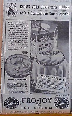 1937 newspaper ad for Sealtest Fro-Joy Ice Cream - Christmas Dinner desserts ()