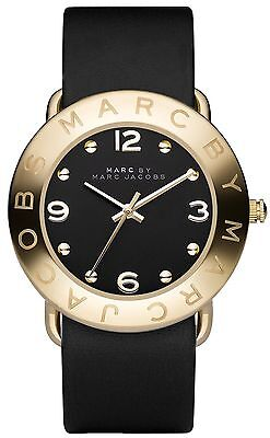 MARC BY MARC JACOBS MBM1154 AMY Gold Black Leather Strap Women's Watch