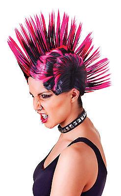 # Punk-Rock Mohican Perücke Weiblich Pink/Schwarz Kostüm Verkleidung - Punk Rock Weibliche Kostüm