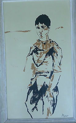 Framed Painting Gouache On Board After Picasso Jester Brown And Black 32 X20
