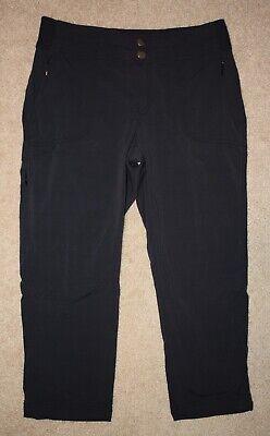 Athleta Cropped Pants Sz 4 Black Hiking Capris Zip Pockets Nylon Stretch