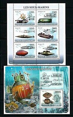 Comoros 2008 Sc#997-8  Submarines  MNH Miniature/Souvenir Sheet Set $29.50