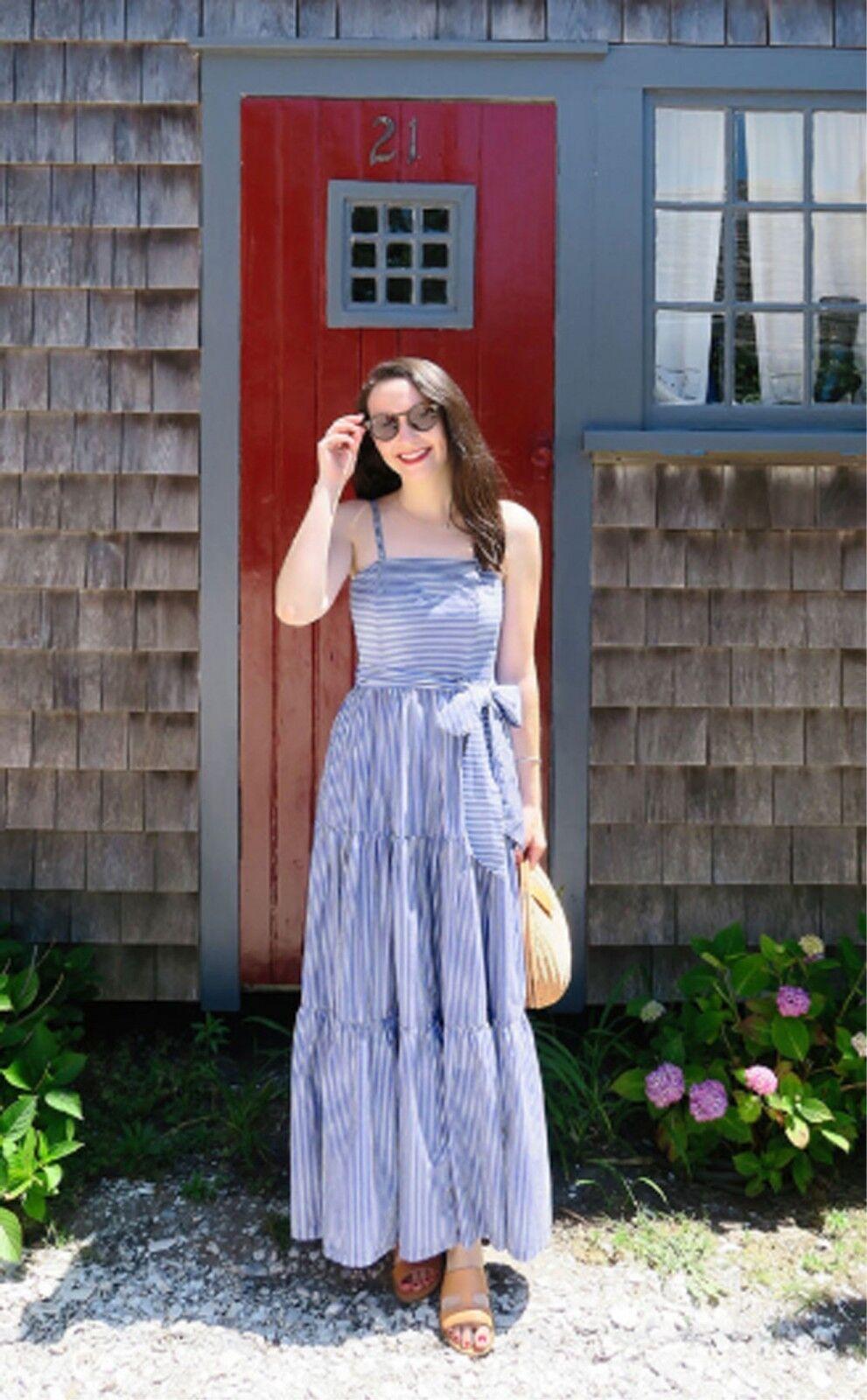 5ea77fb02b3 NWT J.CREW Tiered Maxi Dress in Stripe White Blue 8