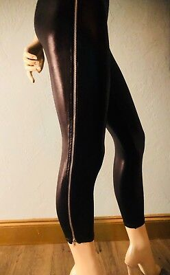 Black Zippered Wet Look Leggings - Super 80's / Punk Rock - Size L/XL (80s Punk Rock Look)