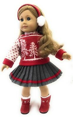 """Red Winter Sweater, Skirt, & Earmuffs for 18"""" American Girl Doll Clothes"""
