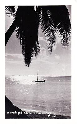 RPPC, Moonlight Scene Tumon Bay Guam, Sail Boat, Postcard D15
