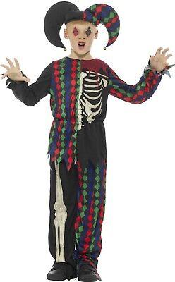 Skeleton Jester Costume (Boys Girls Smiffys Evil Skeleton Jester Harlequin Halloween Costume Outfit)