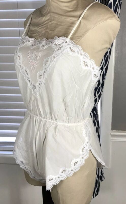 Vintage Barbizon Teddy Medium White Cotton Lace Lingerie Floral Rose Embroidered