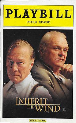 Playbill - INHERIT THE WIND - Christopher Plummer, Brian Dennehy - 2007 - NM