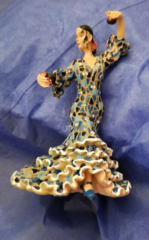 Barcino flamenco dancer collectible shades of blue mosaic beautiful