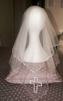 Vintage 1958 Holy Communion Veil with Embroidered Cross Greenwood Joondalup Area Preview