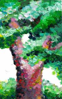 Hand-Painted Card/Trees painting /Greeting Card