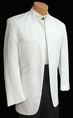 Men's White Jean Yves Mirage Tuxedo Dinner Jacket Mandarin Banded Nerhu Collar  - Jean Yves Tuxedos