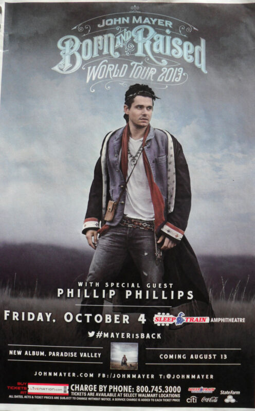 "JOHN MAYER  /PHILLIP PHILLIPS ""BORN & RAISED 2013 TOUR"" SAN DIEGO CONCERT POSTER"
