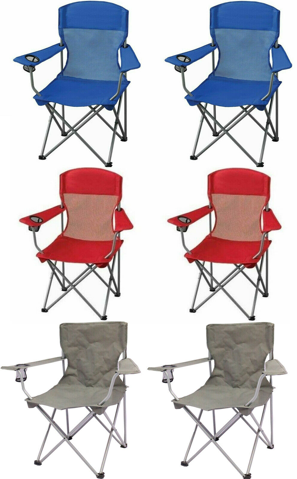 Folding Outdoor Portable Chair Seat Camping Fishing Picnic Beach Lawn (2 PACK)