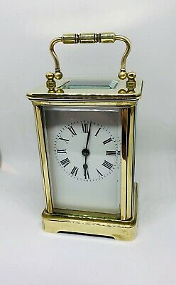 19thC Swiss Brass Corniche Carriage Clock