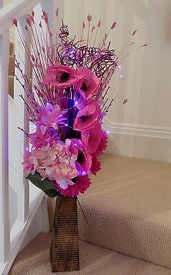 Summer Pink Bouquet natural wood vase (free 20 LED lights) conservatory lounge  Bouquet Natural Wood