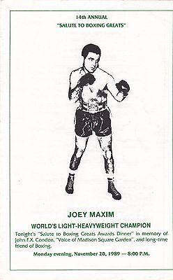 1989 14TH ANNUAL SALUTE TO BOXING GREATS PROGRAM    EDDIE FUTCH    JOEY MAXIM