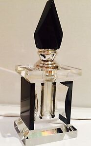Perfume Bottle Glass Crystal Cut Black Silver Art Deco Gift Boxed