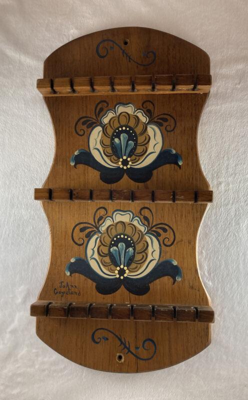 Original NORWEGIAN ROSEMALING Wood Spoon Holder Rack Holds 24 JoAnn Copeland