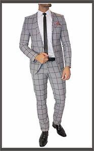 FC-plus-traje-Set-de-Cuadros-Entallado-DOBLE-RANURA-Camisa-Corbata-Gris-44