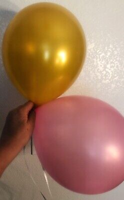 Hot Pink-Bronze Gold Party Balloons [100ct] 11