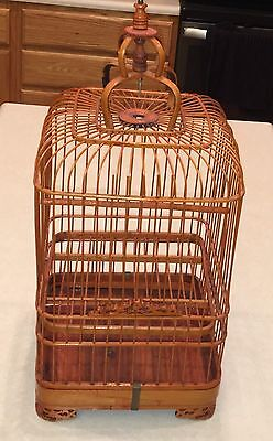 Vintage Asian Bamboo Birdcage Ornate Carved Wood China