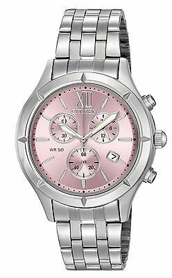 Citizen FA0020-54X Women's Stainless Steel Pink Dial Chronograph Watch
