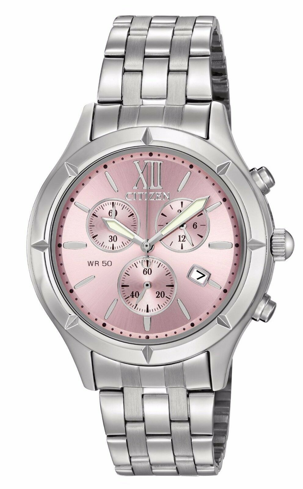 $64.79 - Citizen FA0020-54X Women's Stainless Steel Pink Dial Chronograph Watch