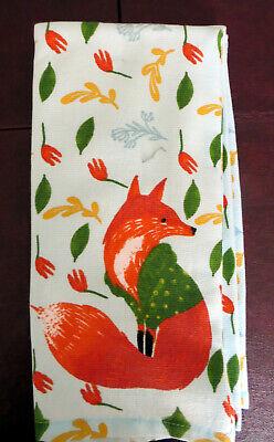 Isaac Mizrahi New York Red FOX Print Set of 2 Kitchen Towels  NEW/tag