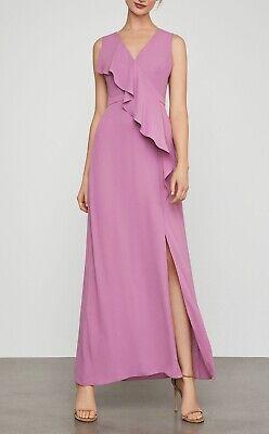 NWT BCBG MAX AZRIA Sleeveless Cross Front Ruffle Gown Size 2 Violetta