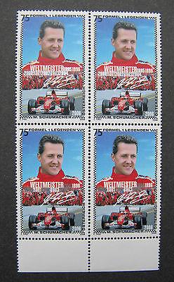 Nicht verausgabte Schumacher, 4er Block postfrisch ** selten !!!