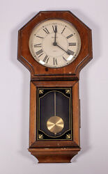 Vintage Bulova Quartz Wall Clock Wooden Brass Pendulum Quartz 12 x 25