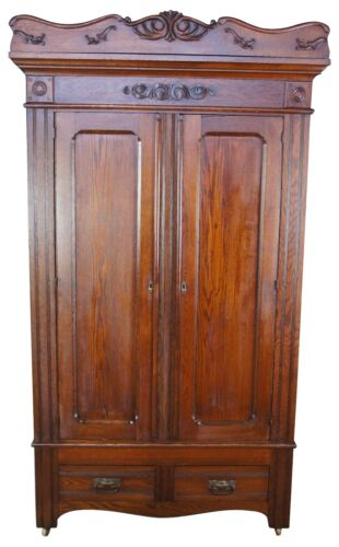 Antique Victorian Oak Knockdown Armoire Wardrobe Cabinet 89""